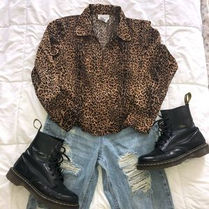 Vintage Cheetah Zip-Up Top
